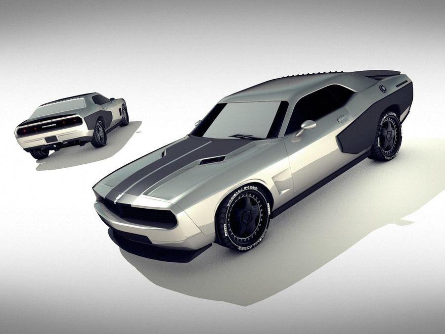 Dodge challenger SRT8 - modificado royalty-free modelo 3d - Preview no. 2