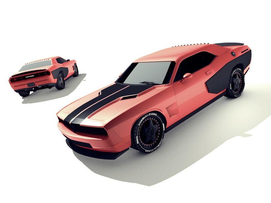 Dodge challenger SRT8 - modificado royalty-free modelo 3d - Preview no. 4