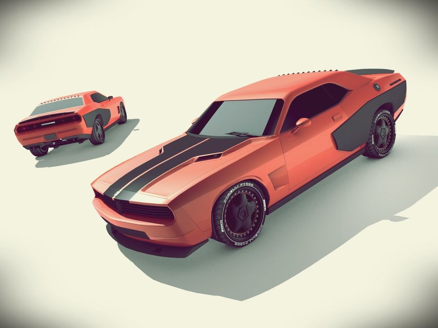 Dodge challenger SRT8 - modificado royalty-free modelo 3d - Preview no. 3