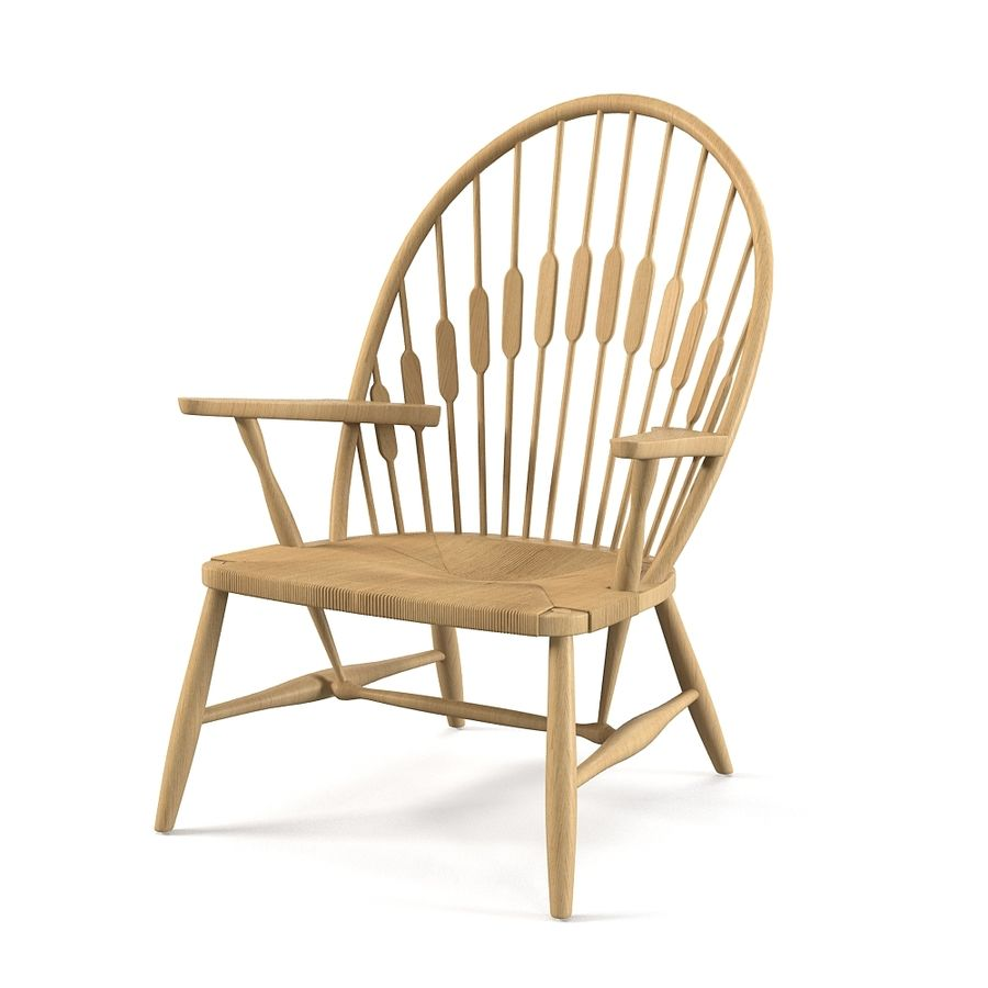 Hans Wegner Peacock Chair royalty-free 3d model - Preview no. 1