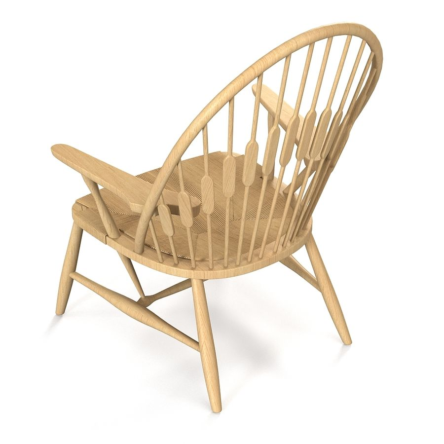 Hans Wegner Peacock Chair royalty-free 3d model - Preview no. 3