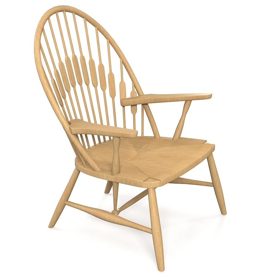 Hans Wegner Peacock Chair royalty-free 3d model - Preview no. 2