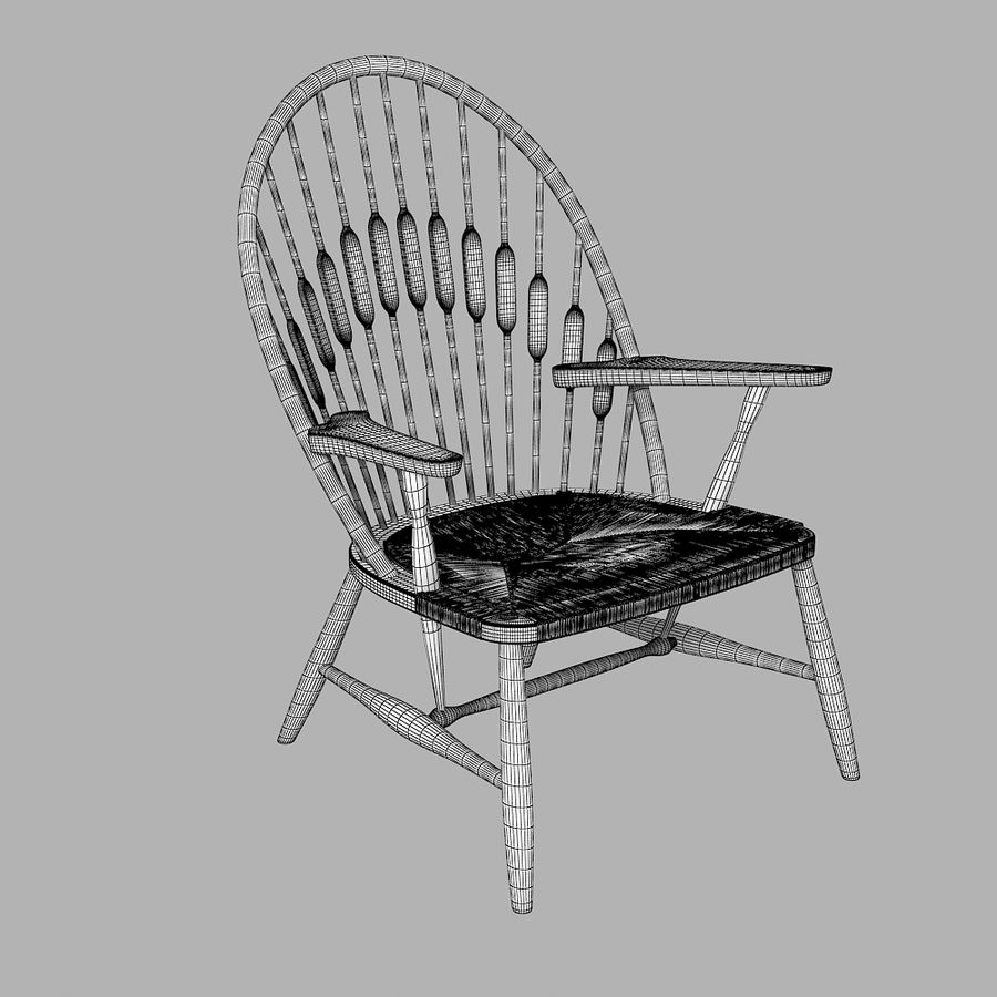 Hans Wegner Peacock Chair royalty-free 3d model - Preview no. 4