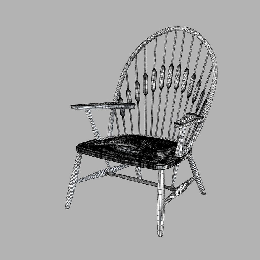 Hans Wegner Peacock Chair royalty-free 3d model - Preview no. 5