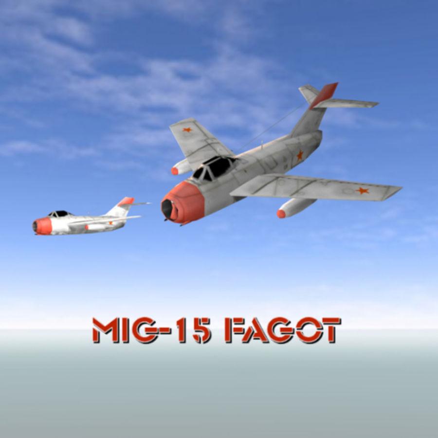 MiG-15 Fagot royalty-free 3d model - Preview no. 2