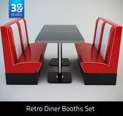Retro Diner Cabines Set 3d model