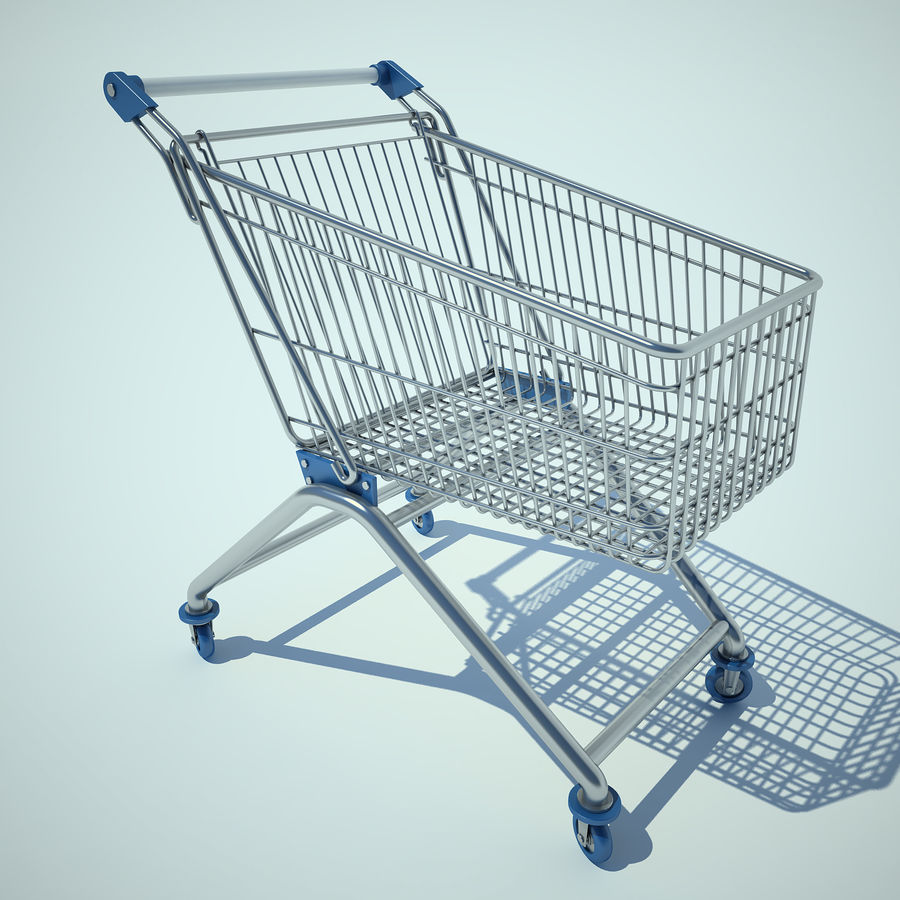 Trolley Supermarket 01 royalty-free 3d model - Preview no. 2