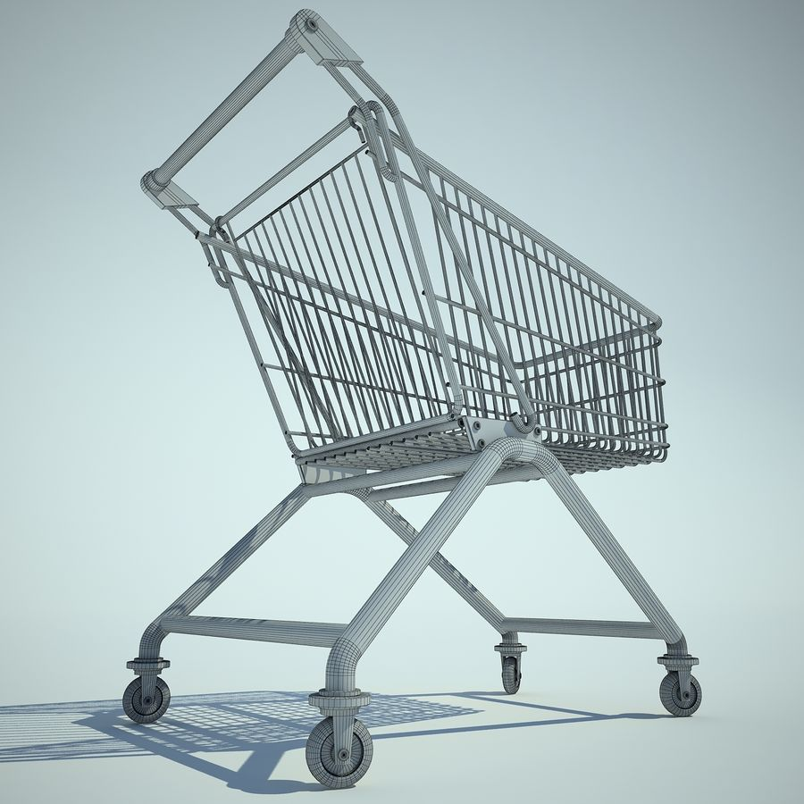 Trolley Supermarket 01 royalty-free 3d model - Preview no. 7