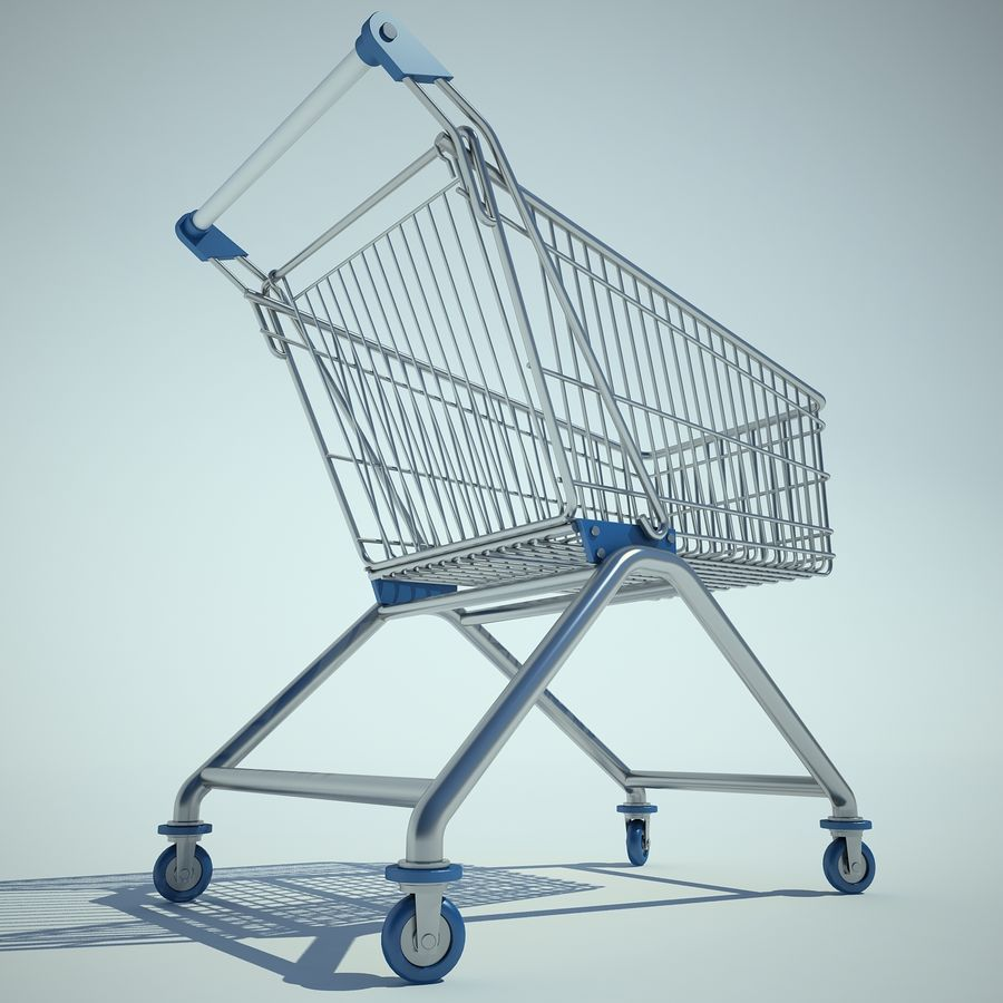Trolley Supermarket 01 royalty-free 3d model - Preview no. 6