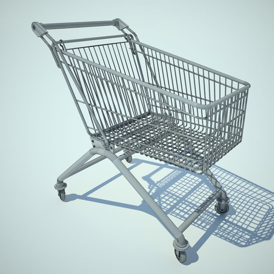 Trolley Supermarket 01 royalty-free 3d model - Preview no. 3
