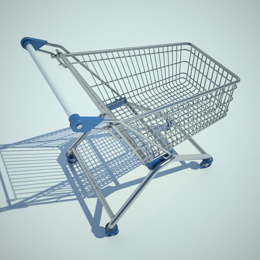 Trolley Supermarket 01 royalty-free 3d model - Preview no. 8