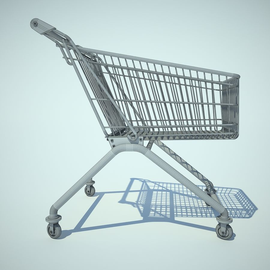 Trolley Supermarket 01 royalty-free 3d model - Preview no. 5