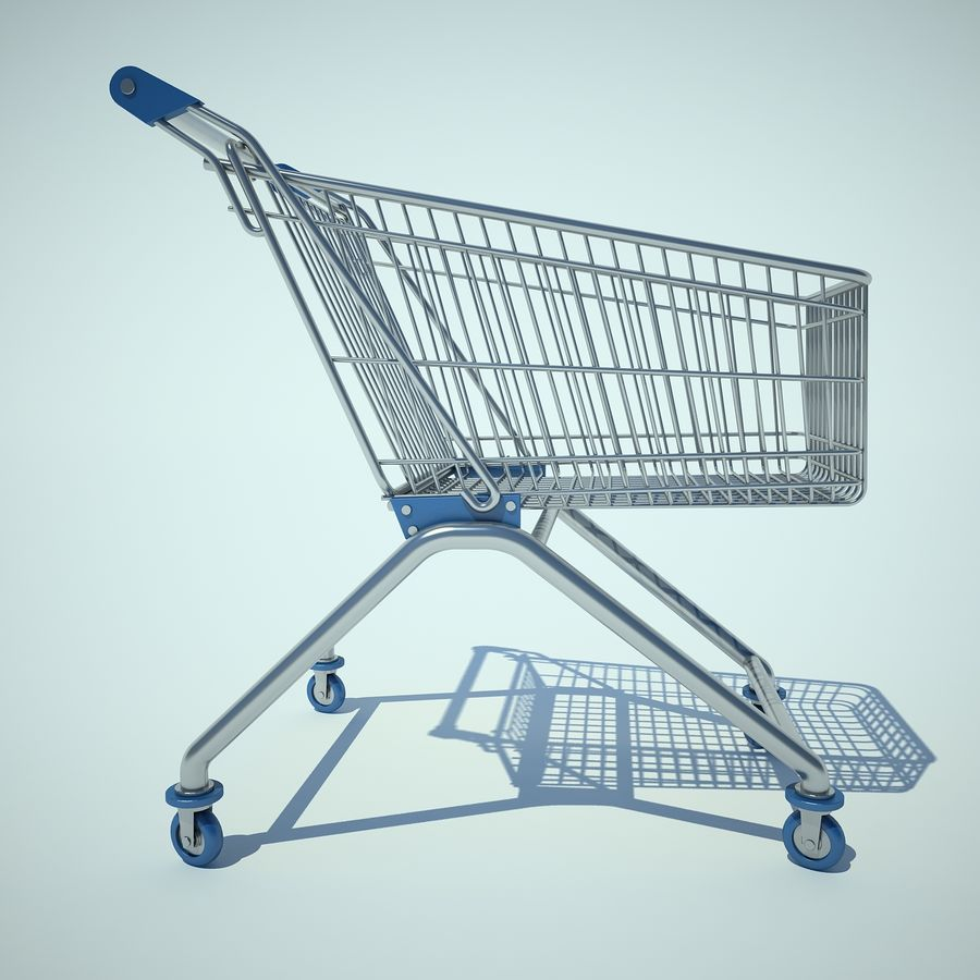 Trolley Supermarket 01 royalty-free 3d model - Preview no. 4
