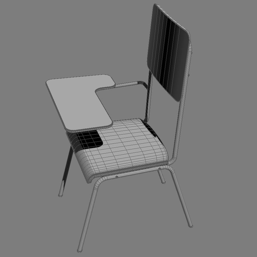 教室の椅子 royalty-free 3d model - Preview no. 7
