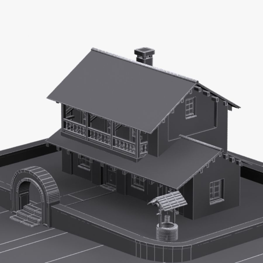 Authentic House Cottage 1 royalty-free 3d model - Preview no. 10