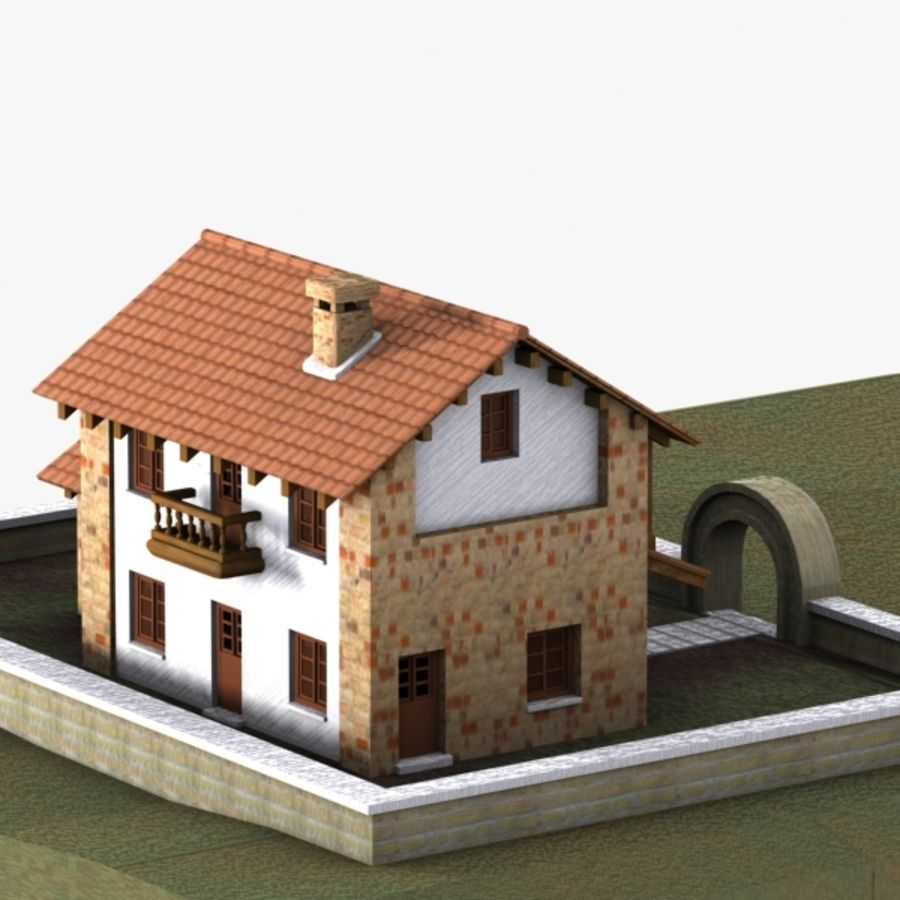 Authentic House Cottage 1 royalty-free 3d model - Preview no. 5