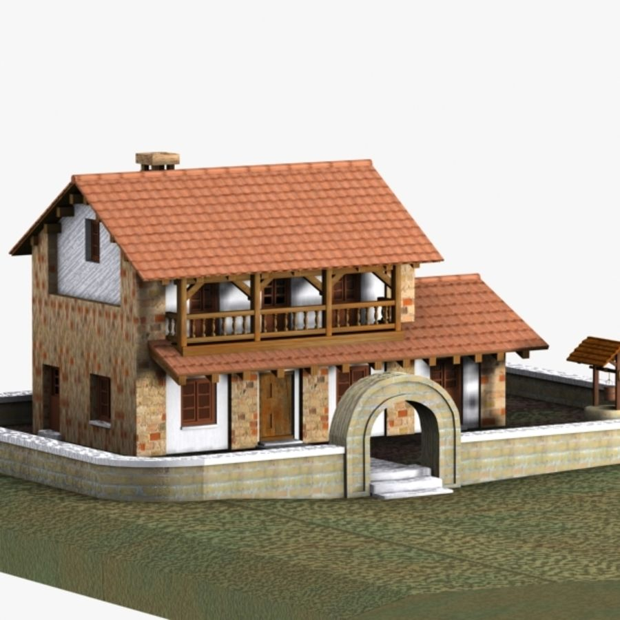 Authentic House Cottage 1 royalty-free 3d model - Preview no. 3