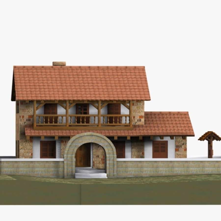 Authentic House Cottage 1 royalty-free 3d model - Preview no. 7