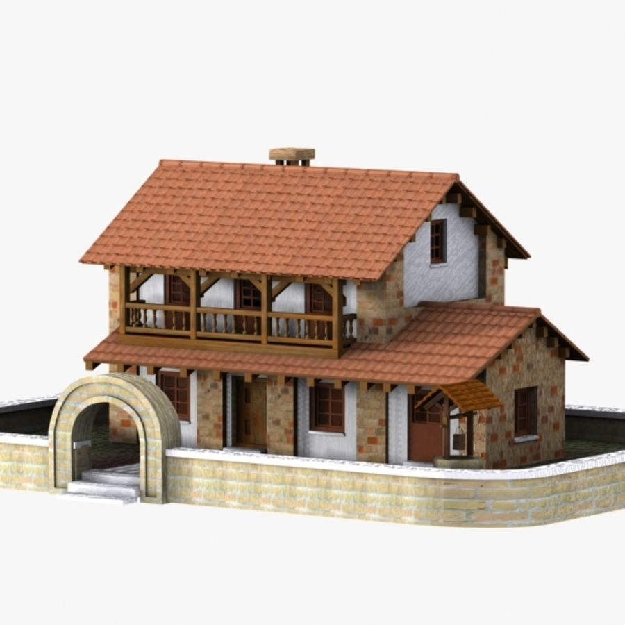 Authentic House Cottage 1 royalty-free 3d model - Preview no. 1