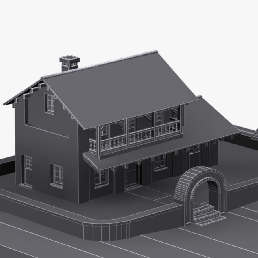 Authentic House Cottage 1 royalty-free 3d model - Preview no. 11