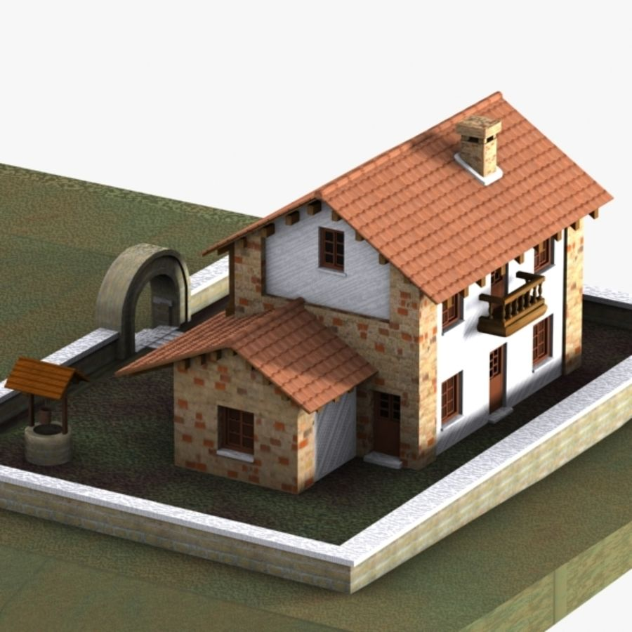 Authentic House Cottage 1 royalty-free 3d model - Preview no. 4