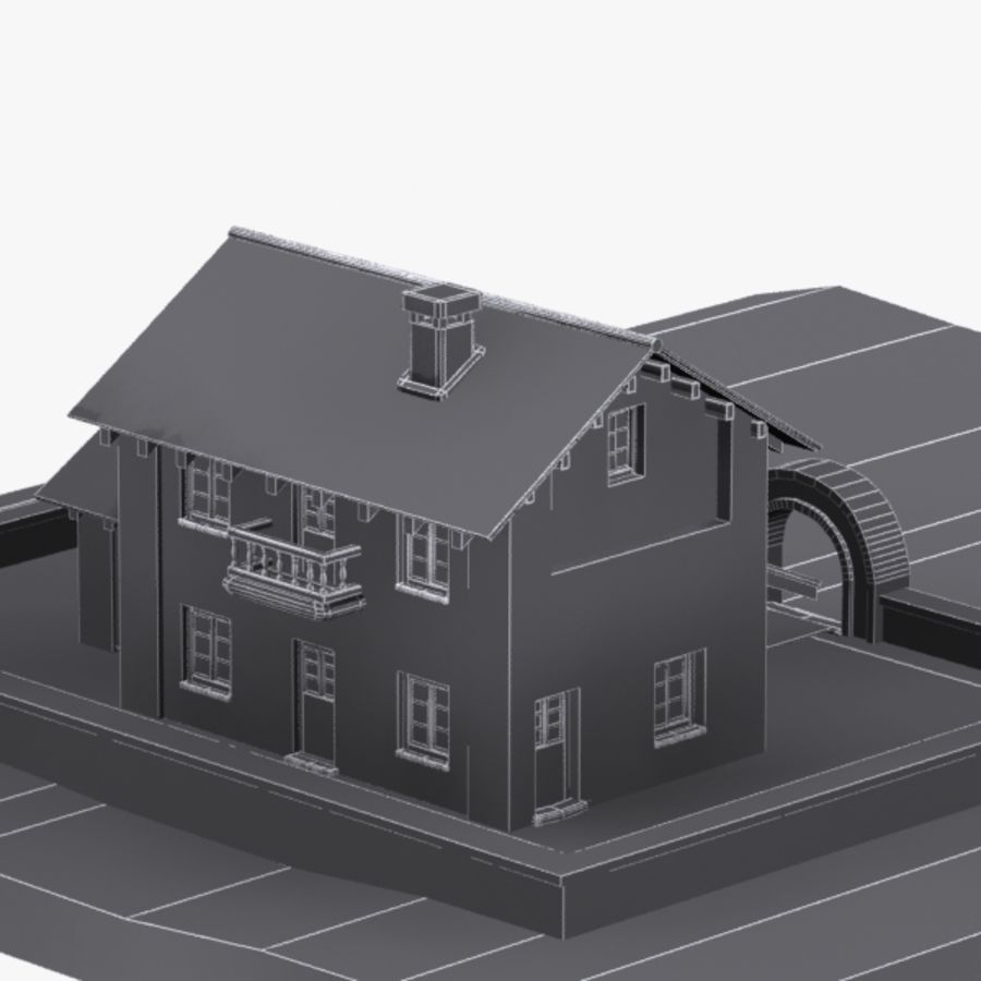 Authentic House Cottage 1 royalty-free 3d model - Preview no. 12
