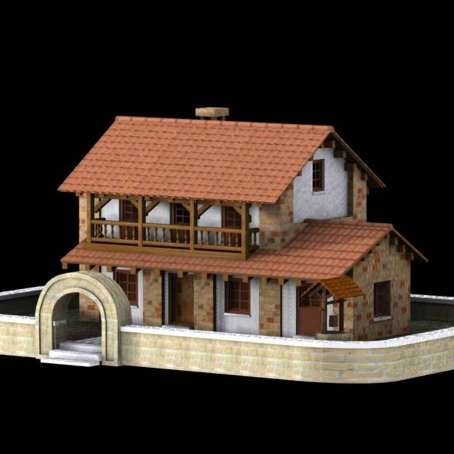 Authentic House Cottage 1 royalty-free 3d model - Preview no. 2