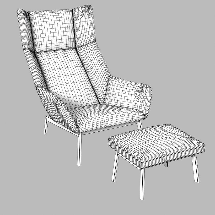 Bensen Park Lounge Chair & Ottoman royalty-free 3d model - Preview no. 2
