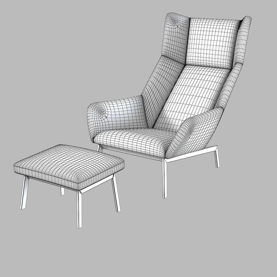 Bensen Park Lounge Chair & Ottoman royalty-free 3d model - Preview no. 3