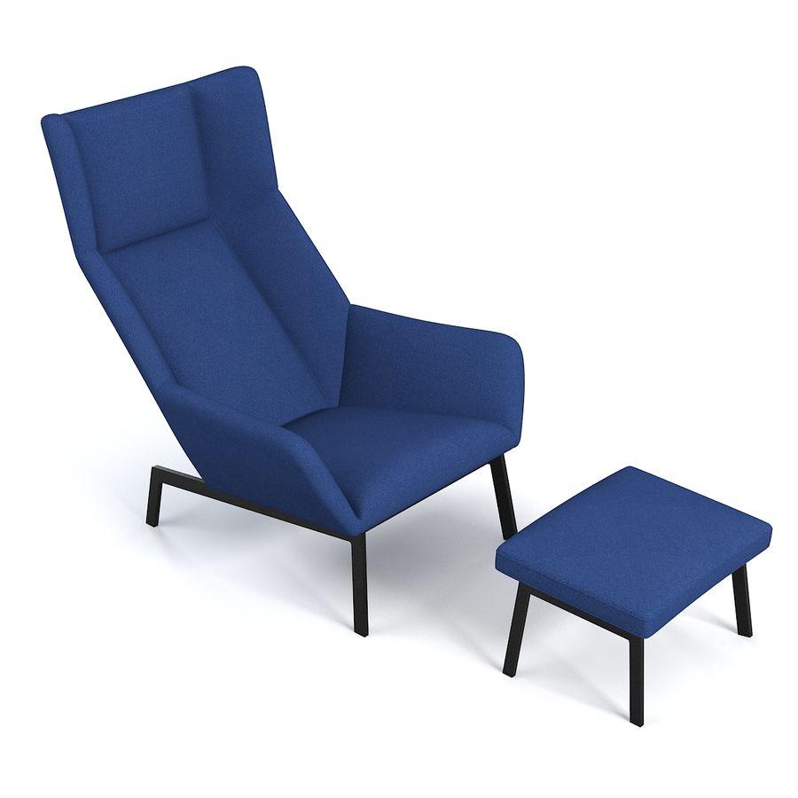 Bensen Park Lounge Chair & Ottoman royalty-free 3d model - Preview no. 4