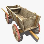 Old Wooden Cart 2 3d model