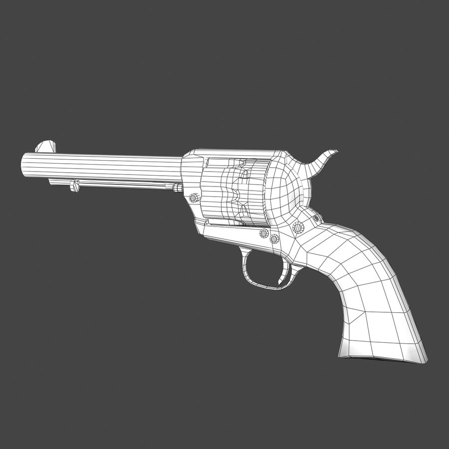 Colt .45 Single Action Revolver royalty-free 3d model - Preview no. 7