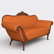 Old Classic-style Carved Sofa 3d model