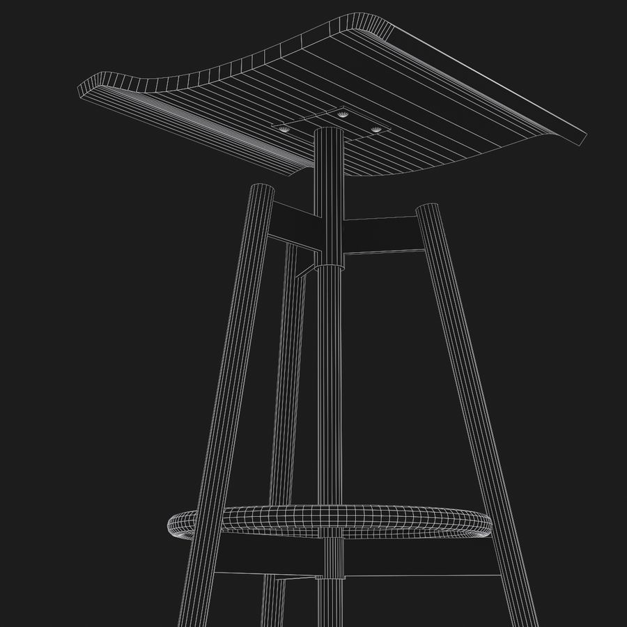 Stołek Bar royalty-free 3d model - Preview no. 8