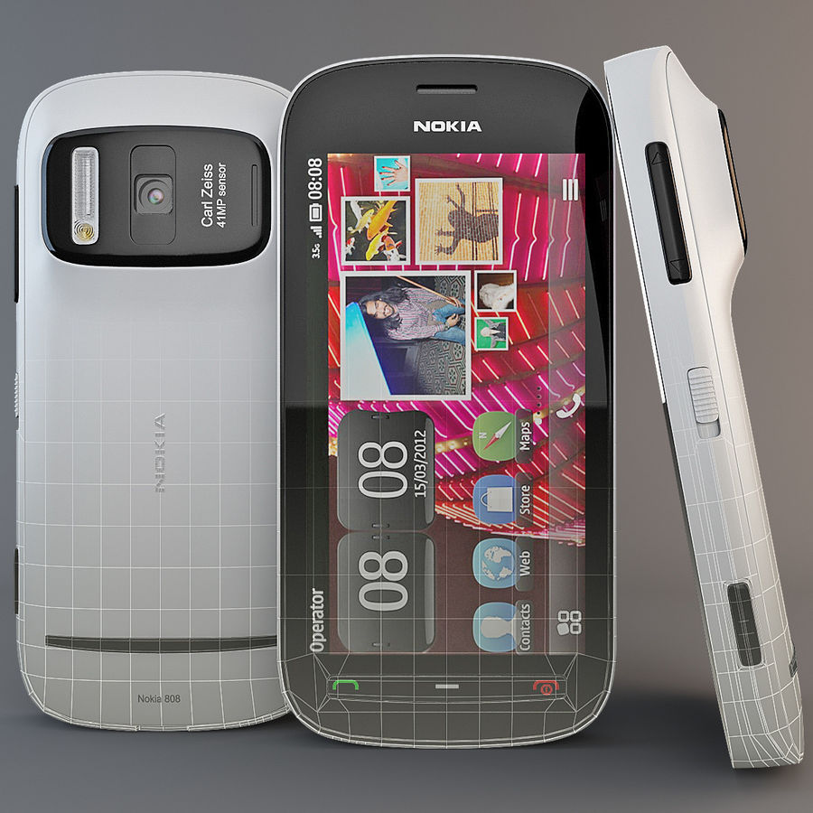 Nokia 808 PureView White royalty-free 3d model - Preview no. 16
