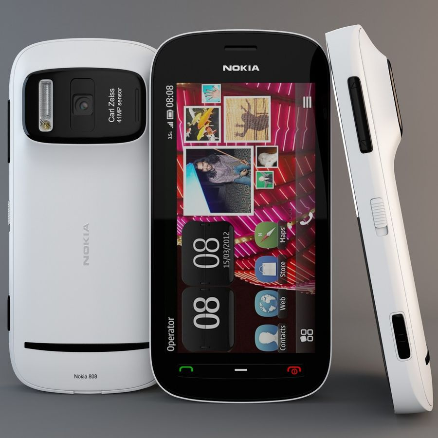 Nokia 808 PureView White royalty-free 3d model - Preview no. 2