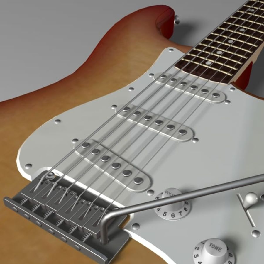 Stratocaster Sunburst royalty-free 3d model - Preview no. 8