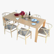 Dining Table with Tableware 3d model