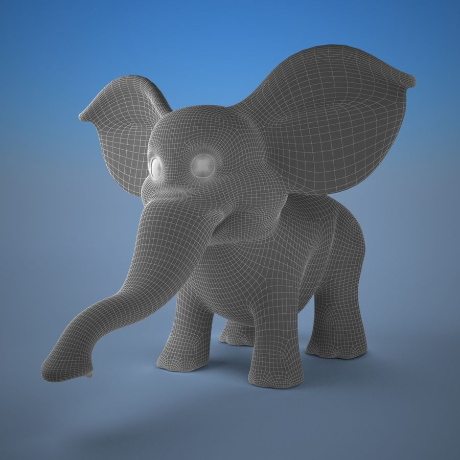 Éléphant de dessin animé royalty-free 3d model - Preview no. 7