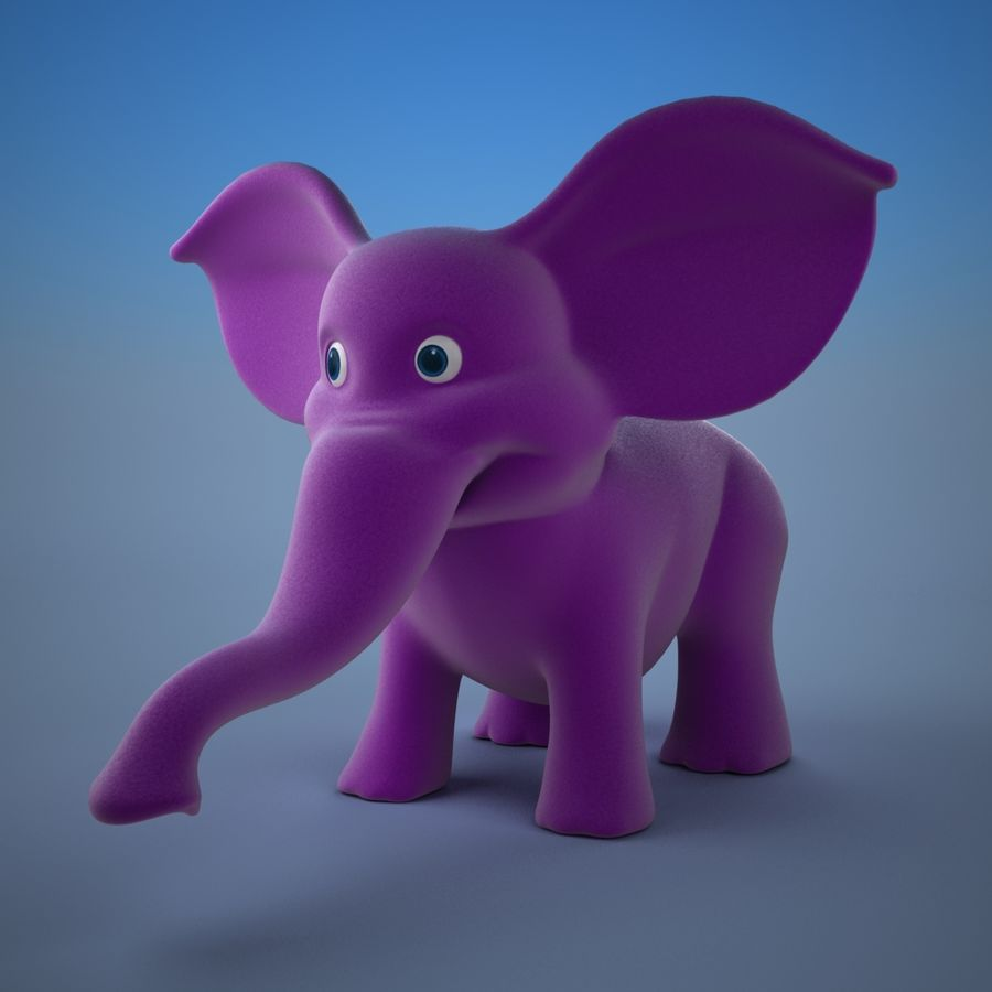 Éléphant de dessin animé royalty-free 3d model - Preview no. 4