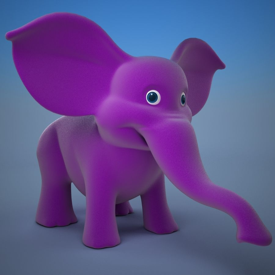 Éléphant de dessin animé royalty-free 3d model - Preview no. 2