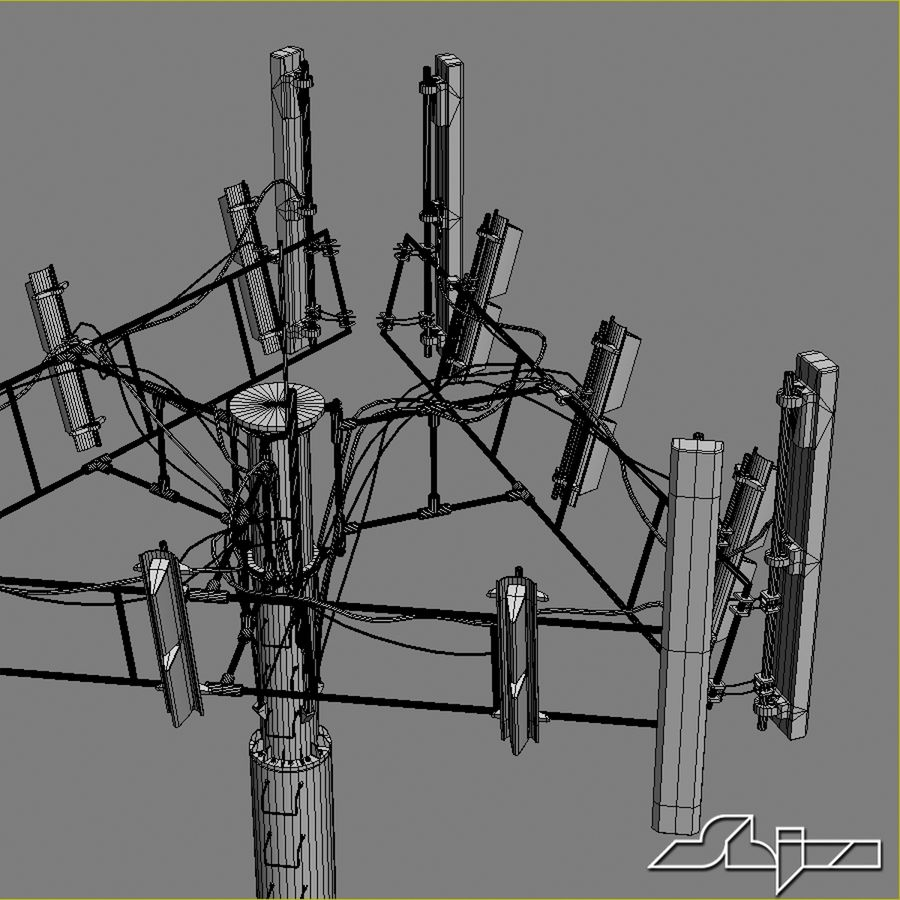 Antenne de tour de communication 2 royalty-free 3d model - Preview no. 9