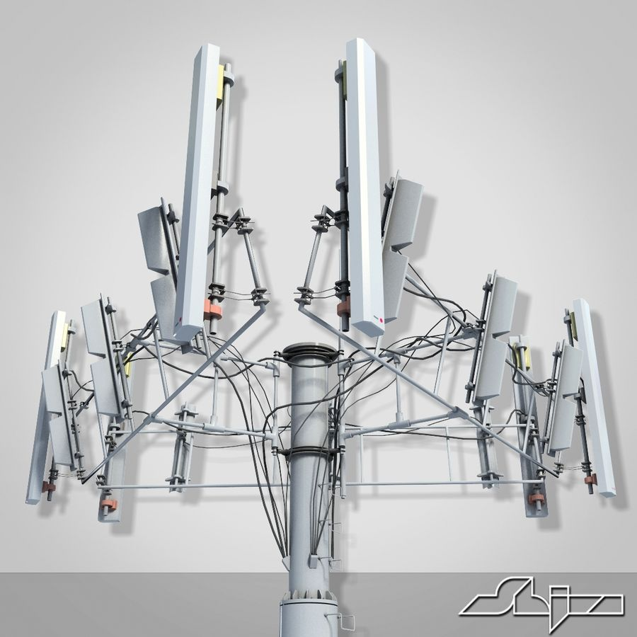 Antenne de tour de communication 2 royalty-free 3d model - Preview no. 3