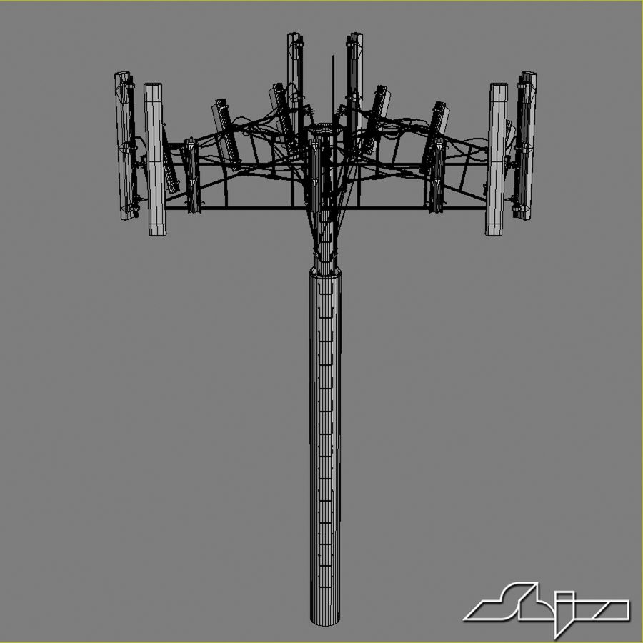 Antenne de tour de communication 2 royalty-free 3d model - Preview no. 8