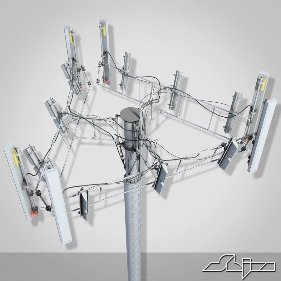 Antenne de tour de communication 2 royalty-free 3d model - Preview no. 4