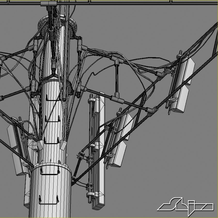 Communication Tower Antena 2 royalty-free 3d model - Preview no. 10