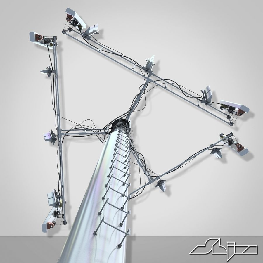 Communication Tower Antena 2 royalty-free 3d model - Preview no. 5