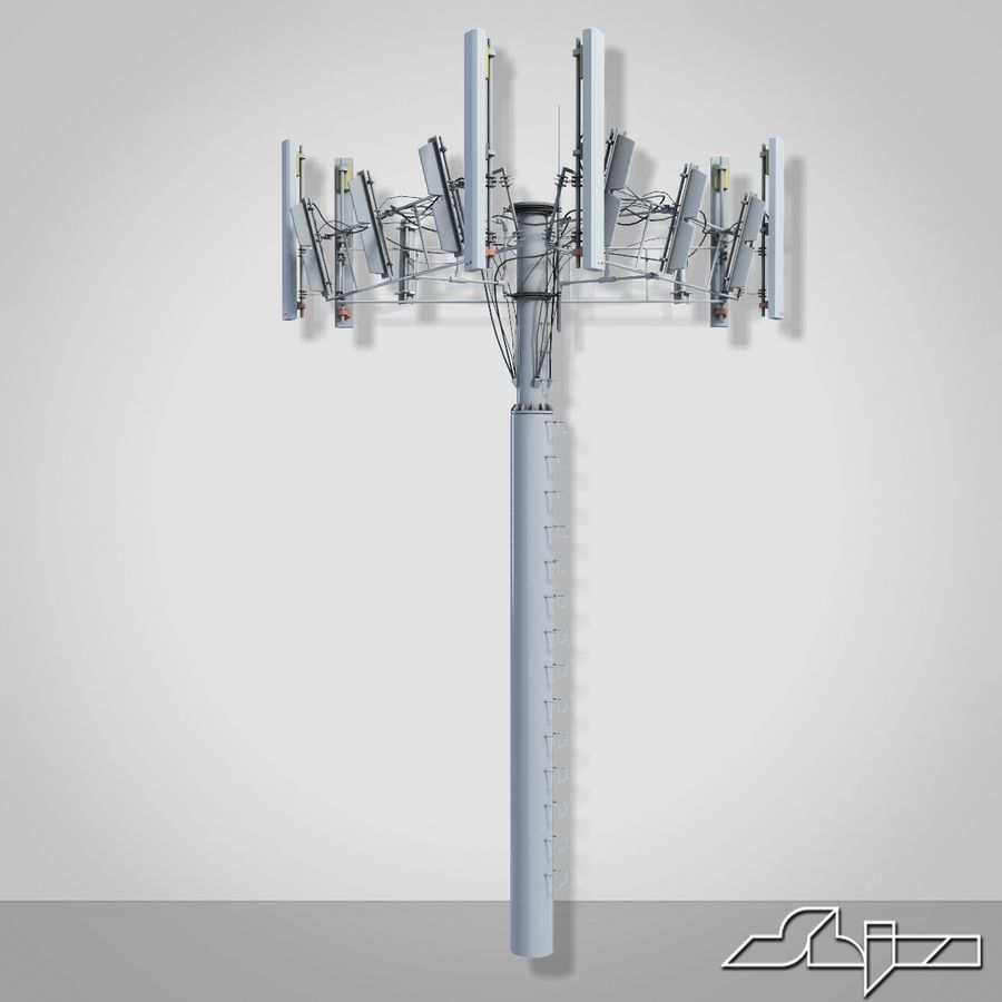 Communication Tower Antena 2 royalty-free 3d model - Preview no. 7