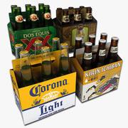 Набор из шести пакетов пива 1 3d model