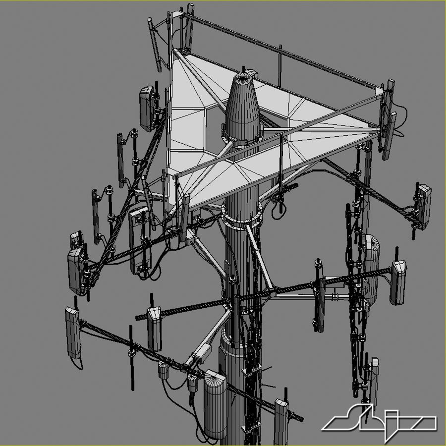 Communication Antena 3 royalty-free 3d model - Preview no. 9